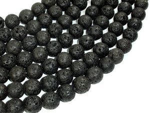 Black Lava Beads, 12mm Round Beads-BeadBasic