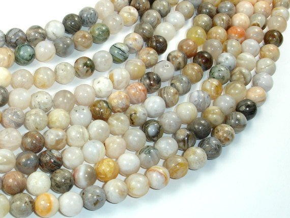 Bamboo Leaf Agate, 8mm (8.3 mm) Round Beads, 15.5 Inch, Full strand