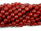 Carnelian Beads, 8mm, Red, Faceted Round Beads-BeadBasic