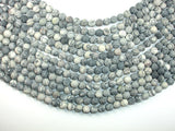 Matte Black Line/ Spider Web Jasper, Silk Stone, 8mm Round beads-BeadBasic
