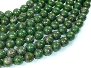 Green Chalcopyrite, 10mm Round Beads-BeadBasic