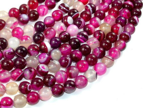 Banded Agate Beads, Fuchsia Agate, 8mm Round Beads, 15.5 Inch