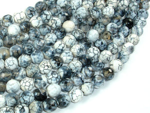 Dragon Vein Agate Beads, Gray & White, 8mm Faceted Round Beads-BeadBasic