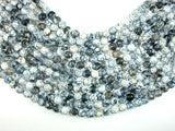 Dragon Vein Agate Beads, Gray & White,  8mm Faceted Round Beads, 14.5 Inch