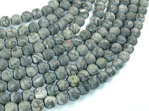 Matte Gray Picture Jasper Beads, 8mm, Round-BeadBasic