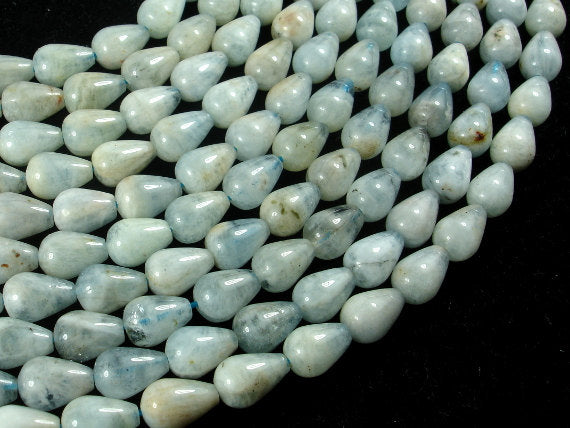 Aquamarine Beads, 7x10mm Teardrop Beads, 16 Inch, Full strand