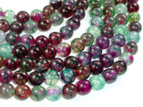 Dragon Vein Agate Beads, Green & Fuchsia, 10mm Round-BeadBasic