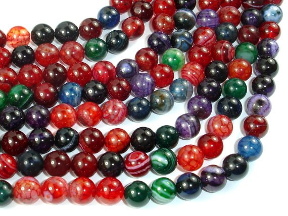 Banded Agate Beads, Multi Colored, 8mm Round-BeadBasic
