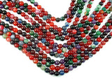 Banded Agate Beads, Multi Colored, 8mm Round Beads, 15 Inch
