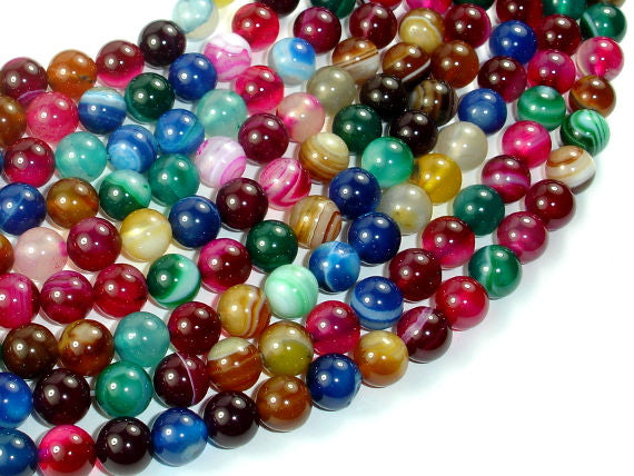 Banded Agate Beads, Striped Agate, Multi Colored, 8mm Round Beads