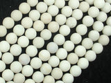 Matte White Fossil Jasper Beads, 8mm Round Beads-BeadBasic