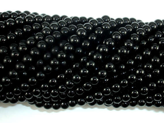 Black Stone, 4mm Round Beads-BeadBasic
