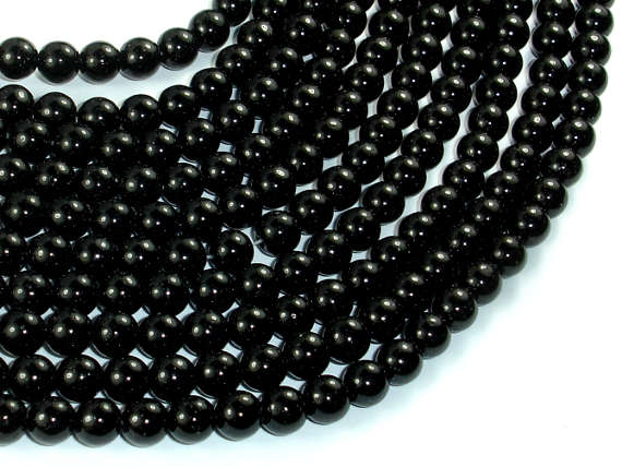 Black Stone, 6mm (6.3mm) Round Beads-BeadBasic