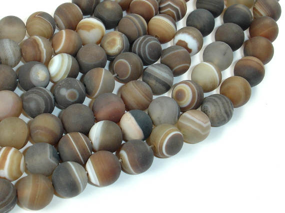 Matte Banded Agate Beads, 10mm Round Beads-BeadBasic