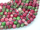 Rain Flower Stone, Red, Green, 8mm Round Beads-BeadBasic