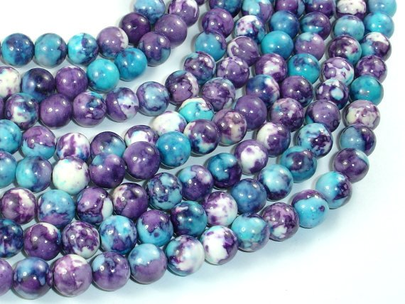 Rain Flower Stone Beads, Blue, Purple, 8mm (8.5mm) Round Beads