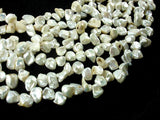 Fresh Water Pearl Beads, White with AB, Top drilled, Keshi-BeadBasic