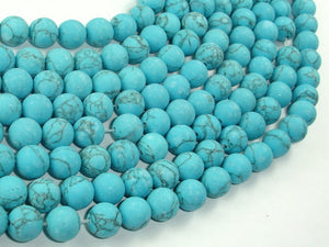 Matte Howlite Turquoise Beads, 8mm Round Beads-BeadBasic