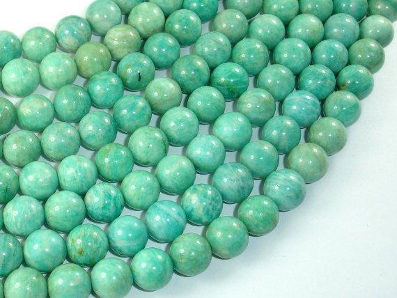 African Amazonite Beads, 10mm(10.4mm) Round Beads , 15.5 Inch-BeadBasic