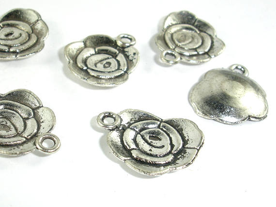Flower Charms, Zinc Alloy, Antique Silver Tone, 14x18 mm