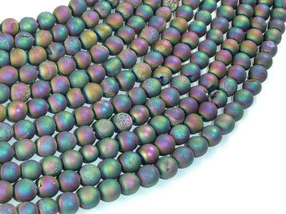 Druzy Agate Beads-Matte, Peacock Geode Beads, 6mm (6.4mm) Round Beads, 15 Inch
