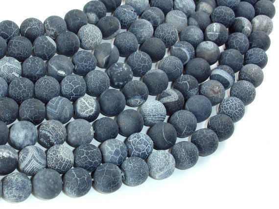 Frosted Matte Agate - Gray, 10mm Round Beads-BeadBasic