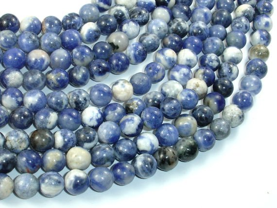 Sodalite Beads, 8mm Round Beads-BeadBasic