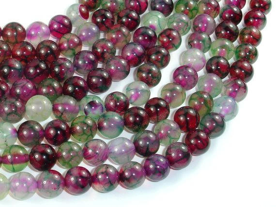 Dragon Vein Agate Beads, Green & Fuchsia, 8mm Round Beads-BeadBasic