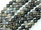 Dragon Vein Agate Beads, Black & White, 8mm(8.4mm) Round Beads, 15 Inch