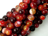 Banded Agate Beads, Red & White, 8mm Round-BeadBasic