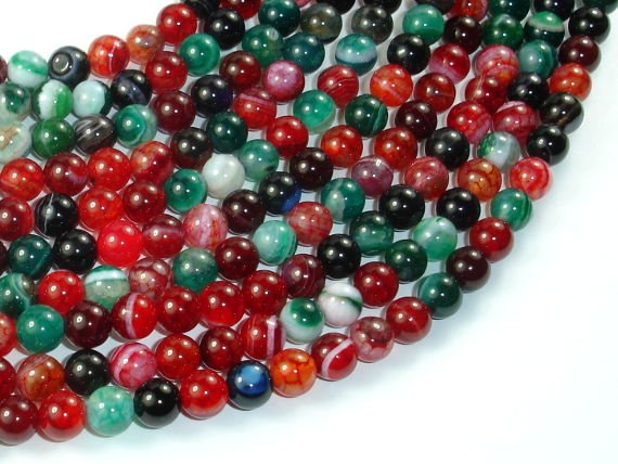 Banded Agate Beads, Multi Colored, 6mm-BeadBasic