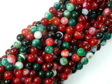 Banded Agate Beads, Multi Colored, 6mm Round Beads, 15 Inch