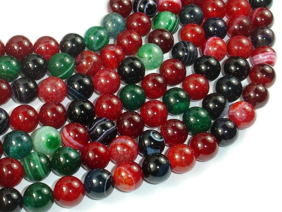 Banded Agate Beads, Multi Colored, 10mm Round Beads, 15 Inch