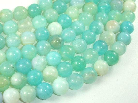 Banded Agate Beads, Light Blue, 10mm Round Beads, 15 Inch
