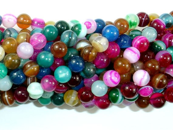 Banded Agate Beads, Striped Agate, Multi Colored, 6mm Round Beads, 15 Inch, Full strand, Approx 62 beads, Hole 1mm, A quality (132054030)