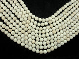 Matte White Fossil Jasper Beads, 8mm (8.4mm) Round Beads, 15.5 Inch, Full strand