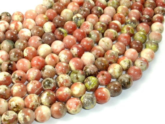 Spicy Jasper Beads, Plum Blossom Jasper, Round, 8mm (8.3mm)