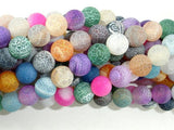 Frosted Matte Agate - Multi Color, 8mm Round-BeadBasic