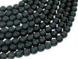 Matte Black Onyx Beads, 8mm Faceted Round-BeadBasic