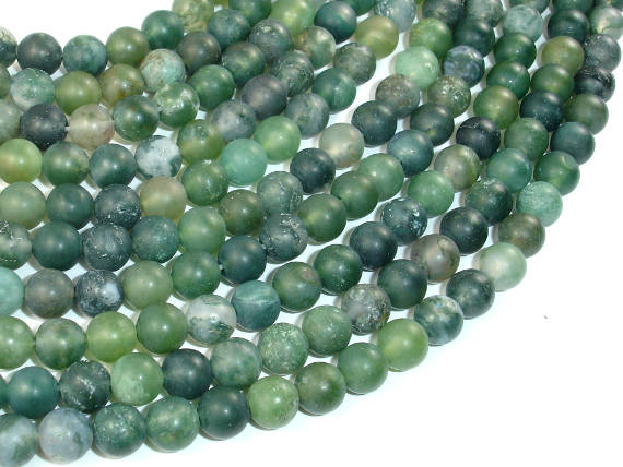 Matte Moss Agate Beads, 6mm Round Beads-BeadBasic
