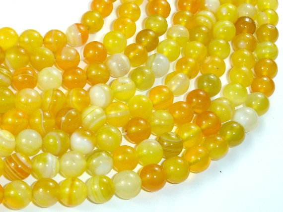Banded Agate Beads, Yellow, 8mm Round Beads-BeadBasic