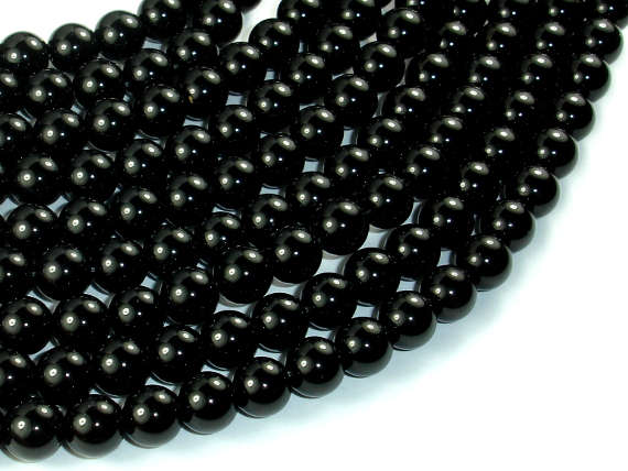 Black Stone, 8mm (8.2mm) Round Beads-BeadBasic