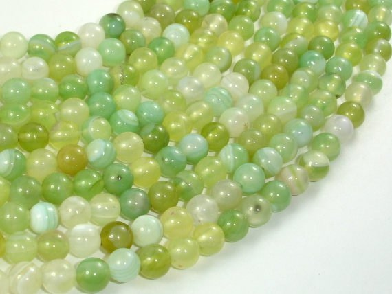 Banded Agate Beads, Light Green, 6mm Round Beads, 15 Inch
