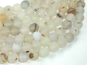 Frosted Matte Agate-White, Gray, 10mm Round Beads, 15 Inch