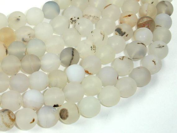 Frosted Matte Agate-White, Gray, 10mm Round Beads-BeadBasic
