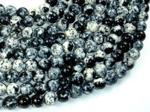Rain Flower Stone Beads, Black, White, 8mm Round Beads-BeadBasic
