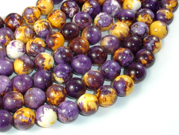Rain Flower Stone Beads, Purple, Yellow, 10mm (10.6mm) Round Beads
