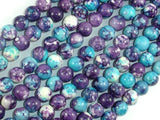 Rain Flower Stone Beads, Blue, Purple, 8mm Round Beads-BeadBasic