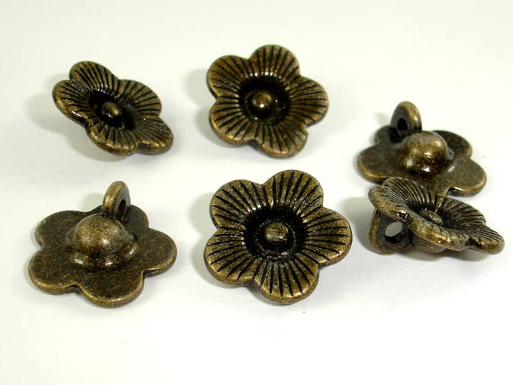Flower Charms, Zinc Alloy, Antique Brass Tone, 14x14 mm