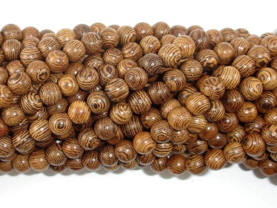 Wenge Wood Beads, 6mm(6.3mm) Round Beads, 25 Inch-BeadBasic